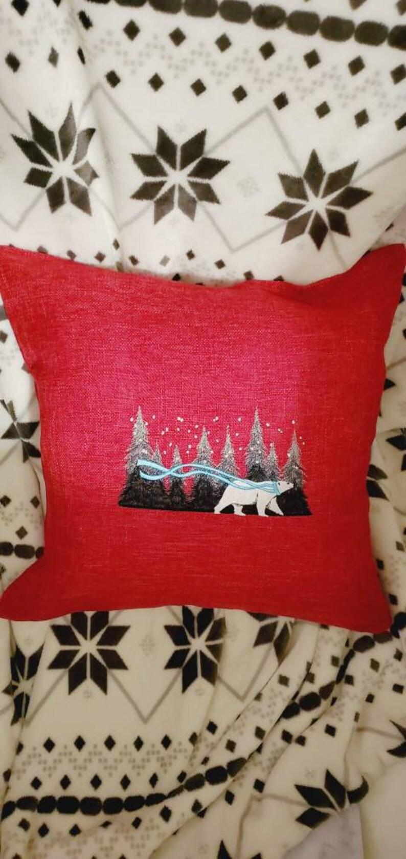 polar bear winter forest pillow cover