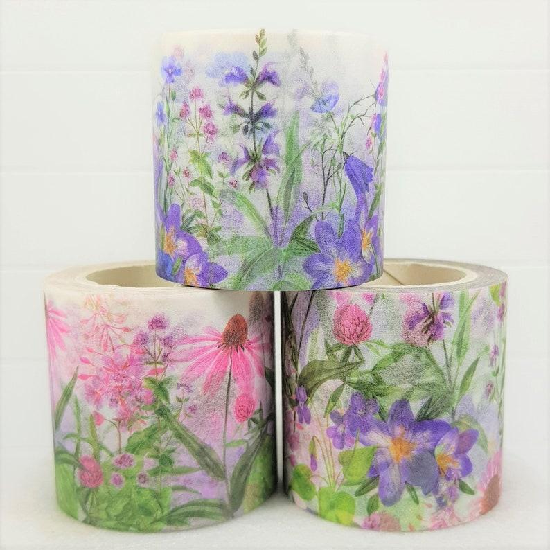 Wide Washi Tape Set Purple Pink Flowers Floral Botanical Nature Bujo Bullet Journal Scrapbook Craft Ephemera Planner Stationery Box Set