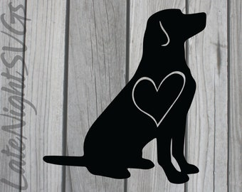 Black Lab Labrador Heart Pet Dog cut vector svg png digital art