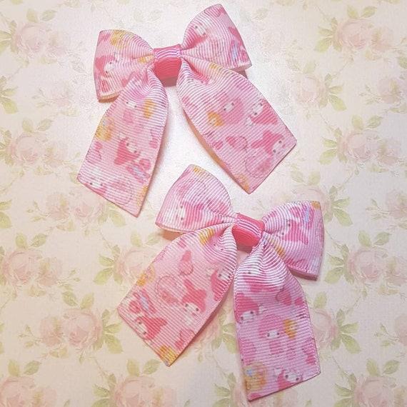 Sweet red and white Hello Kitty hair bows lolita bows harajuku bows kawaii bows j fashion bows decora bows bunny bows pink bows cute bows