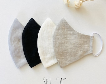 Set of 4 Linen Face Masks   Cotton   Pre-washed   Washable   Reusable   Adult   Teen   Youth