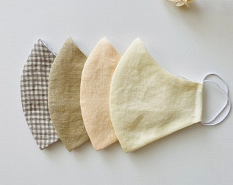Set of 4 Linen Face Masks   Cotton   Spring   Checkered   Plaid   Pre-washed   Washable   Reusable   Adult   Teen   Youth