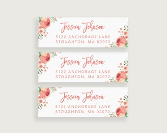Personalized Wedding Favor TagsStickers Peach Floral Circle Wedding Labels Peach and Cream 0009 Printable OR Printed Wedding Stickers