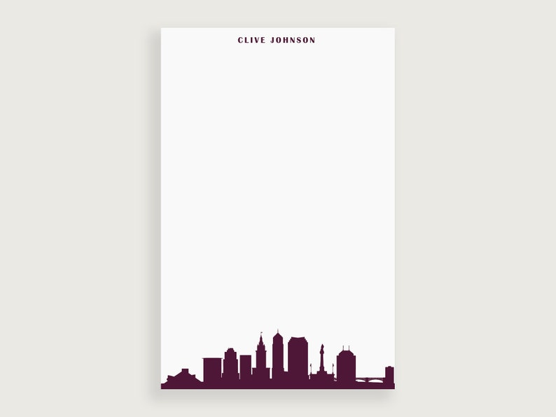 Ohio Skyline Notepad Design #93 Personal Stationery Cleveland Skyline Notepad Letter Writing Paper Lined