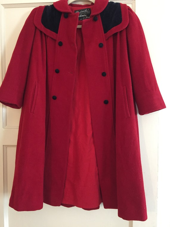 Red Vintage Pea Coat- Cashmere and wool