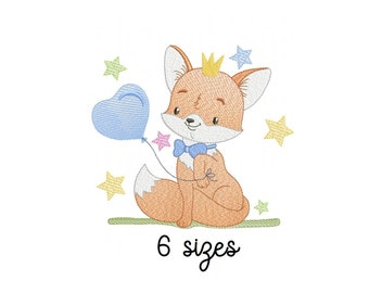 Fox Balloon embroidery design, animals embroidery design machine, kids embroidery pattern, file instant download, baby embroidery design