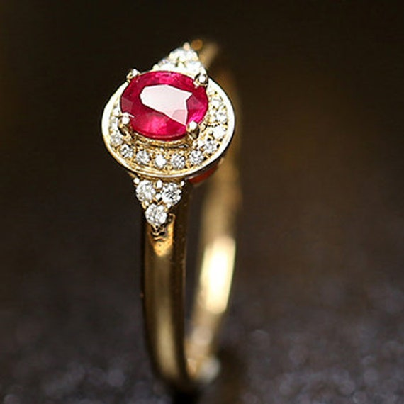 English Vintage Design Band Customizable Solid 925 Sterling Silver Natural Ruby /& Precious Diamond Accent Commitment Ring