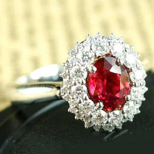 Princess Cut Ruby Ring 9K Gold Ruby Diamond Halo Engagement Ring Classic Ruby Valentine Promise Ring Square Shape Ruby Anniversary Gift Ring