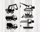 Set of 6 different construction equipment. Excavator. Crane. Vector cutting file for Silhouette Cameo and Cricut; SVG, Studio3, PNG + EPS.
