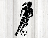 Footballer with long ponytail, running. Vector cutting file for Silhouette Cameo and Cricut; SVG, Studio3, PNG + EPS.