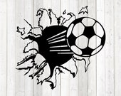 Football blasting right through the wall. Vector cutting file for Silhouette Cameo and Cricut; SVG, Studio3, PNG + EPS.