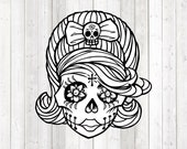 Retro skull lady skull bow and flower tattoos; Halloween. Vector cutting file for Silhouette Cameo and Cricut; SVG, Studio3, PNG + EPS.