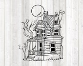 Haunted house; creepy house with bat, ghost and moon. Vector cutting file for Silhouette Cameo and Cricut; SVG, Studio3, PNG + EPS.