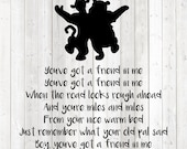 Bear and tiger. Lyrics 'You've got a friend in me'. Vector cutting file for Silhouette Cameo and Cricut; SVG, Studio3, PNG + EPS.