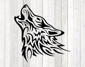 Crying wolf tattoo. Vector cutting file for Silhouette Cameo and Cricut; SVG, Studio3, PNG + EPS.