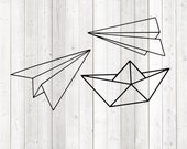 Paper airplane and boat; origami; paper forms. Vector cutting file for Silhouette Cameo and Cricut; SVG, Studio3, PNG + EPS.