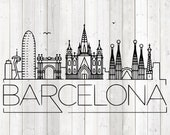 Barcelona skyline, with all the famous buildings. Vector cutting file for Silhouette Cameo and Cricut; SVG, Studio3, PNG + EPS.