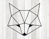 Geometric fox, head, shape in lines. Vector cutting file for Silhouette Cameo and Cricut; SVG, Studio3, PNG + EPS.