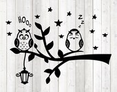 Birds in tree with lamp. Sleeping owl. Vector cutting file for Silhouette Cameo and Cricut; SVG, Studio3, PNG + EPS.