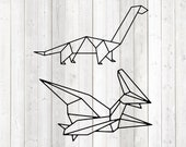 Paper dinosaurs. Pterodactylus and Sauroposeidon. Vector cutting file for Silhouette Cameo and Cricut; SVG, Studio3, PNG + EPS.