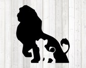 Silhouette of the male lion with cub from the cartoon. Vector cutting file for Silhouette Cameo and Cricut; SVG, Studio3, PNG + EPS.