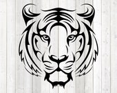Head of a tiger in tattoo style. Vector cutting file for Silhouette Cameo and Cricut; SVG, Studio3, PNG + EPS.