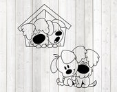 Sweet dogs cuddling and sleeping together in a doghouse. Vector cutting file for Silhouette Cameo and Cricut; SVG, Studio3, PNG + EPS.
