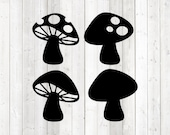 Set mushrooms with and without dots. Vector cutting file for Silhouette Cameo and Cricut; SVG, Studio3, PNG + EPS.