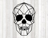 Geometric figure of a skull; only lines. Vector cutting file for Silhouette Cameo and Cricut; SVG, Studio3, PNG + EPS.