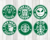 Set of 6 different coffee logos. Vector cutting file for Silhouette Cameo and Cricut; SVG, Studio3, PNG + EPS.