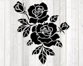 Roses with leaves. Vector cutting file for Silhouette Cameo and Cricut; SVG, Studio3, PNG + EPS.
