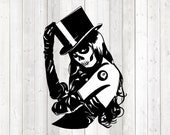 Skull lady with top hat and 8-ball tattoo; Halloween. Vector cutting file for Silhouette Cameo and Cricut; SVG, Studio3, PNG + EPS.