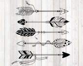 Set of 5 feathered arrows. Vector cutting file for Silhouette Cameo and Cricut; SVG, Studio3, PNG + EPS.