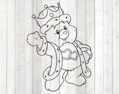 Cute pet bear, king with crown. Vector cutting file for Silhouette Cameo and Cricut; SVG, Studio3, PNG + EPS.