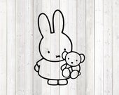The famous bunny with cuddly bear. Vector cutting file for Silhouette Cameo and Cricut; SVG, Studio3, PNG + EPS.