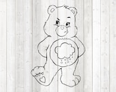 Cute pet bear rain cloud on the belly. Vector cutting file for Silhouette Cameo and Cricut; SVG, Studio3, PNG + EPS.