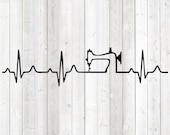 Heartbeat with sewing machine. Vector cutting file for Silhouette Cameo and Cricut; SVG, Studio3, PNG + EPS.