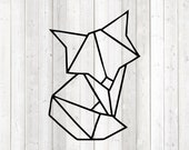 Geometric fox, shape in lines. Vector cutting file for Silhouette Cameo and Cricut; SVG, Studio3, PNG + EPS.