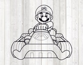 The famous game character with mustache in his kart wagon. Vector cutting file for Silhouette Cameo and Cricut; SVG, Studio3, PNG + EPS.