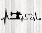 Heart rate with sewing machine and heart. Vector cutting file for Silhouette Cameo and Cricut; SVG, Studio3, PNG + EPS.