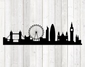 London skyline, well-known buildings, tourist spots. Vector cutting file for Silhouette Cameo and Cricut; SVG, Studio3, PNG + EPS.