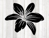 Large stylized lily. Vector cutting file for Silhouette Cameo and Cricut; SVG, Studio3, PNG + EPS.