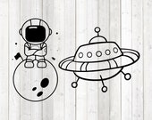Astronaut on the moon and Ufo. Vector cutting file for Silhouette Cameo and Cricut; SVG, Studio3, PNG + EPS.