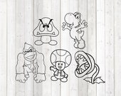Set of 5 characters from the famous computer game. Vector cutting file for Silhouette Cameo and Cricut; SVG, Studio3, PNG + EPS.