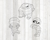 Set of 3 Halloween mummies. Vector cutting file for Silhouette Cameo and Cricut; SVG, Studio3, PNG + EPS.