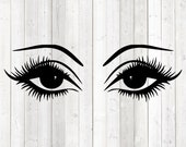 Big woman's eyes with long eyelashes and eyebrows. Vector cutting file for Silhouette Cameo and Cricut; SVG, Studio3, PNG + EPS.