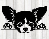 Chihuahua portrait; smallest dog; head and feet. Vector cutting file for Silhouette Cameo and Cricut; SVG, Studio3, PNG + EPS.
