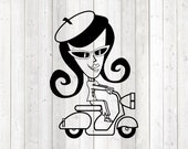 Retro trendy scooter girl; woman with beret on scooter. Vector cutting file for Silhouette Cameo and Cricut; SVG, Studio3, PNG + EPS.