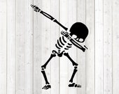 Skeleton doing the dab dance. Vector cutting file for Silhouette Cameo and Cricut; SVG, Studio3, PNG + EPS.