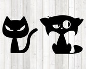 Funny cats with cynical eyes. Vector cutting file for Silhouette Cameo and Cricut; SVG, Studio3, PNG + EPS.